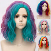 35CM Hair Party Ombre Lolita Curly Rainbow Cosplay Multi-Color Fashion Wig