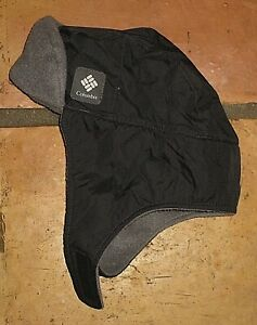 COLUMBIA BLACK NYLON GRAY FLEECE TRAPPER HAT BOY'S GIRL'S TODDLER ONE SIZE OS