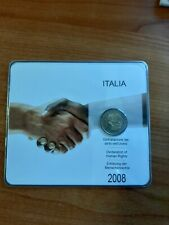 ITALIA ITALY ITALIE 2 EURO COIN HUMAN RIGHTS 2008 IN BLISTER-FOLDER