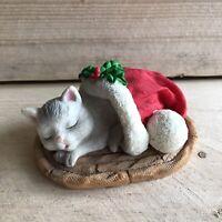 Kurt S Adler Cat Kitten Sleeping in Santa Hat Christmas Figurine Cute Decoration