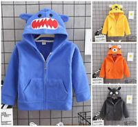 kids girls boys autumn winter warm fleece coat jacket hoodie outerwear cartoon