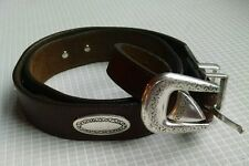 """Brighton Brown Belt 34"""" With Silver Tone Accents"""