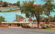 Flint MI~Big Tree by Elms Motor Lodge~Pool, Carport~1950s Postcard