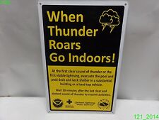 """SWIMMING POOL SAFETY SIGN WHEN THUNDER ROARS GO INDOORS 12"""" X 18"""" ALUM. SIGN NEW"""