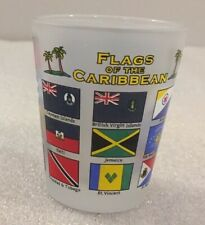 Flags of the Caribbean frosted souvenir shot glass