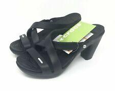 Womens Crocs Cyprus IV black heels sandals size 8 > NEW