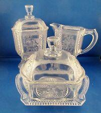 "Antique 1880""s ""DEER & PINE TREE"" Butter Sugar Creamer McKee's Glass Table Set"