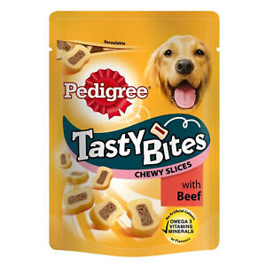 Pedigree Tasty Bites Chewy Slices with Beef for Adult Dog Treats Reward 155g