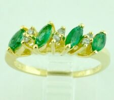 14k Solid Yellow gold Natural Marquise Emerald & Diamond Ring 0.32 ct  Pre owned
