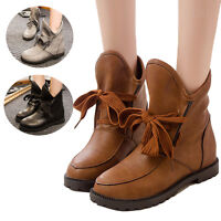 New Womens Ladies High Top Casual Ankle Boots Flat Low Heel Pull On Riding Shoes