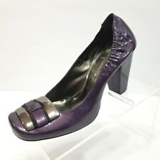 Vince Camuto Purple Patent Leather Heels Metal Hardware Toe Detail Size 7.5B