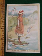1870s-80s Happy New Year Girl in Bonnet at Beach Poem Victorian Trade Card F35