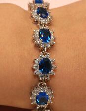 2ct BLUE Diamond 14K Tennis Bracelet 3D OVAL Beaded Link White Gold FINISH