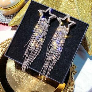 Fashion Crystal Moon Tassel Gold Earrings Stud Drop Dangle Women Jewelry Gifts