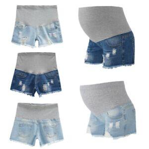 Maternity Distressed Denim Shorts Pregnant Women Jeans Elastic  Summer Clothes