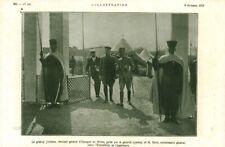 Document ancien général Jordana guidé par Lyautey et Berti 1915 issu de magazine