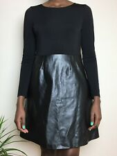Traffic People Ladies Dress Size 10-12 M With Faux Leather Short Party Black