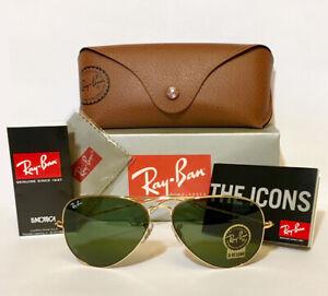 Guaranteed 100% Genuine Ray Ban Aviator RB3025 L0205 Sunglasses 58mm Green Lens