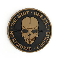 One Shot One Kill No Remorse I Decide Tactical Military Morale Badge Ecusson YEL