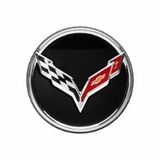 2014-2019 Chevrolet Corvette C7 GM Crossed Flags Black 1 Center Cap OEM 19301416