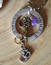Amethyst Inhale Exhale Om Silver Gold Bronze Healing Karma Ohm Necklace Amulet