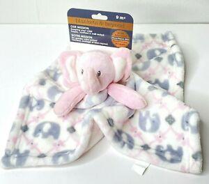 Blankets & Beyond Pink Elephant Security Blanket White Gray Nunu Baby Toy