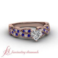 1.15 Ct Heart Shaped Diamond & Blue Sapphire Milgrain Women Engagement Ring GIA