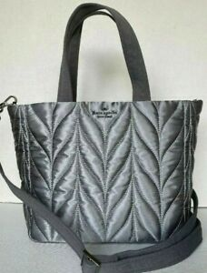 NWT Kate Spade New York Ellie small Tote Quilted Nylon handbag Anthracite