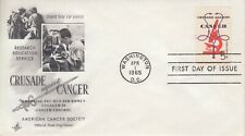 1965 #1263 CRUSADE AGAINST CANCER FDC W/ ART CRAFT CACHET UNADDRESSED GEM!