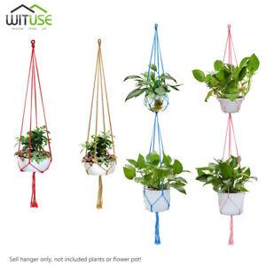 Single/Dual Layer Plant Pot Hanger Handmade Cotton Rope Rural Hanging Planter A