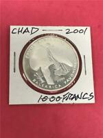 2001 Chad 'Two birds' .999 1000 Francs Proof