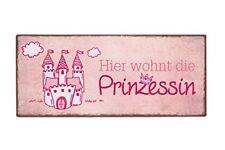 Deko Schild Metallschild Blechschild Hier wohnt die Prinzessin mit Spruch