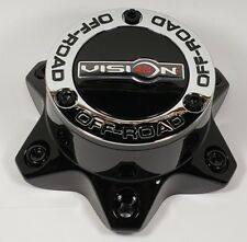 C394PLGB-6V Gloss Black Vision Off Road LG1303-23 6 Lug Wheel Center Cap