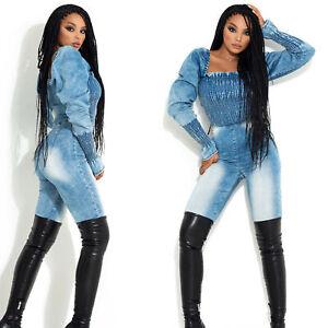 BY Alina MEXTON Damen Jeansoverall Einteiler Catsuit Jeans Jumpsuit 34-38 #D373