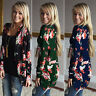 Womens Floral Cardigan Kimono Autumn Long Sleeve Casual Coat Outwear Blouse Top
