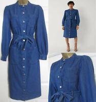 NEW Warehouse Womens Grandad Collar Denim Dress Mid Shirt Long Sleeve Blue 6-16