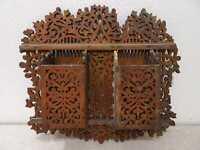 Antiguo Madera Soporte de Pared Handgefertigt Vintage Um 1900