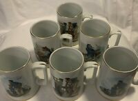 Set of 6 1985 Norman Rockwell Nautical Themed Coffee Cups Mugs Gold Trim Vintage