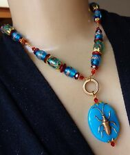 Vintage Necklace Egyptian Beetle Peruvian Blue Agate Pendant Art Glass Beads