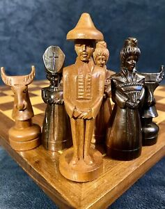 "Vintage Philippine Maria Clara Chess Set Narra & Kamagong Wood 5""K"