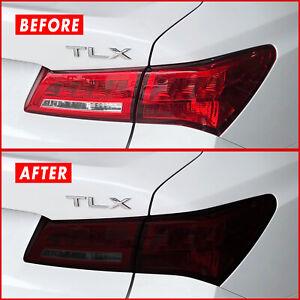 FOR 18-20 Acura TLX Tail Light & Rear Reflector SMOKE Precut Vinyl Tint Overlays