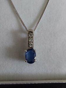 White Gold Sapphire And Diamond Pendant Necklace