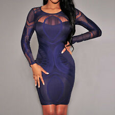 Women Sexy Bandage Bodycon Summer Evening Cocktail Party Long Sleeve Mini Dress