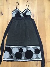 TED BAKER 100% Silk Strappy Black & White Party Dress @ Size 1 UK 8 Cocktail