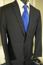 HUGO BOSS SIZE 38R DARK GRAY PINSTRIPE 2 BUTTON SUIT W/DUAL VENTS