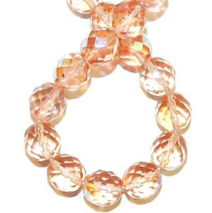 CZ651 Light Rose AB 12mm Fire-Polished Faceted Round Czech Glass Beads 16""