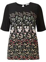 M&S PER UNA Ladies Black Cream Pink Floral Print Half Sleeve Summer Top T-shirt