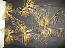 5pc Gold Slinky Christmas Metal Bow Ornaments Glitter Wreath Wire