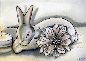 ACEO Original Art Rabbit Bunny White China Flower Ornament Candle Ink - SMcNeill
