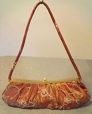 Cato Embroidered & Beaded Purse, Crystal Clasp, Floral, Gold Lining,Rare Find